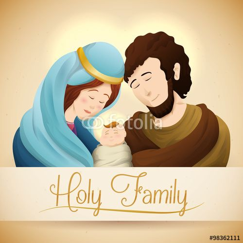 Realistic Holy Family Portrait, Vector Illustration