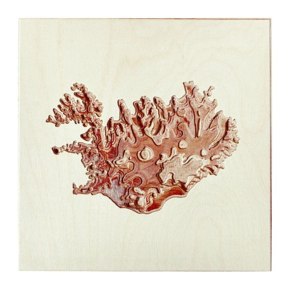 Wall Map of Iceland. Carved Topographical Map por JamieFrameDesign