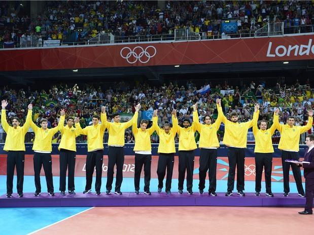 Medalha de Prata conquistada pela seleção brasileira de vôlei masculino.