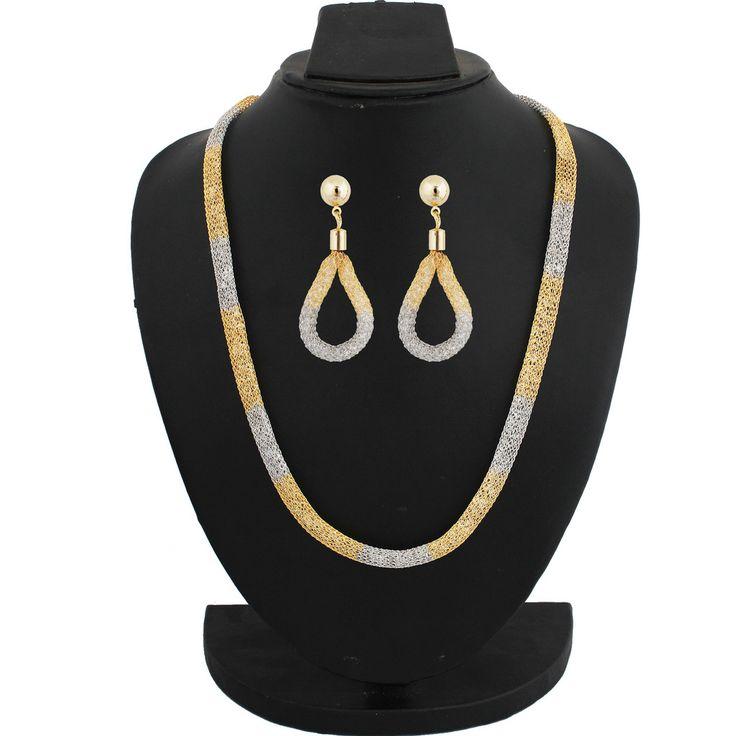 Sthrielite Fancy Design Gold Plated Stone Chain Set STN-CHN-020-050