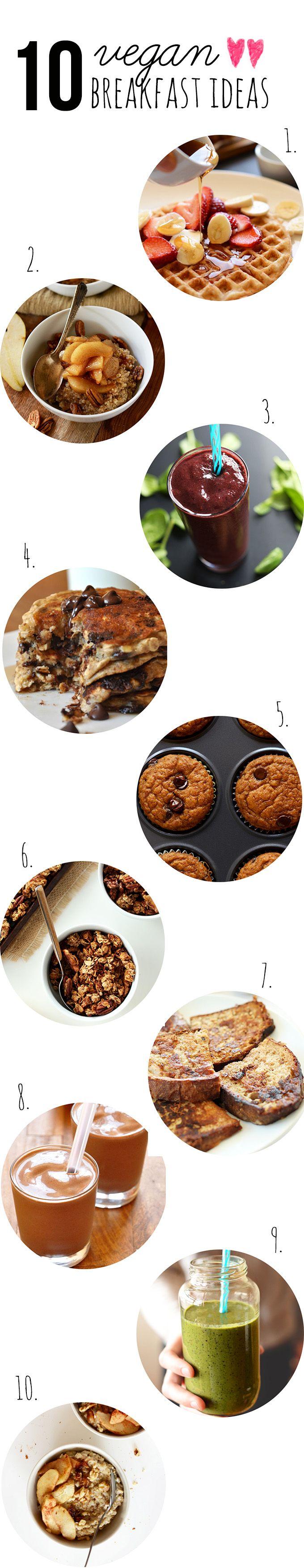 10 Vegan Breakfast Ideas! #vegan #breakfast SO GOOD