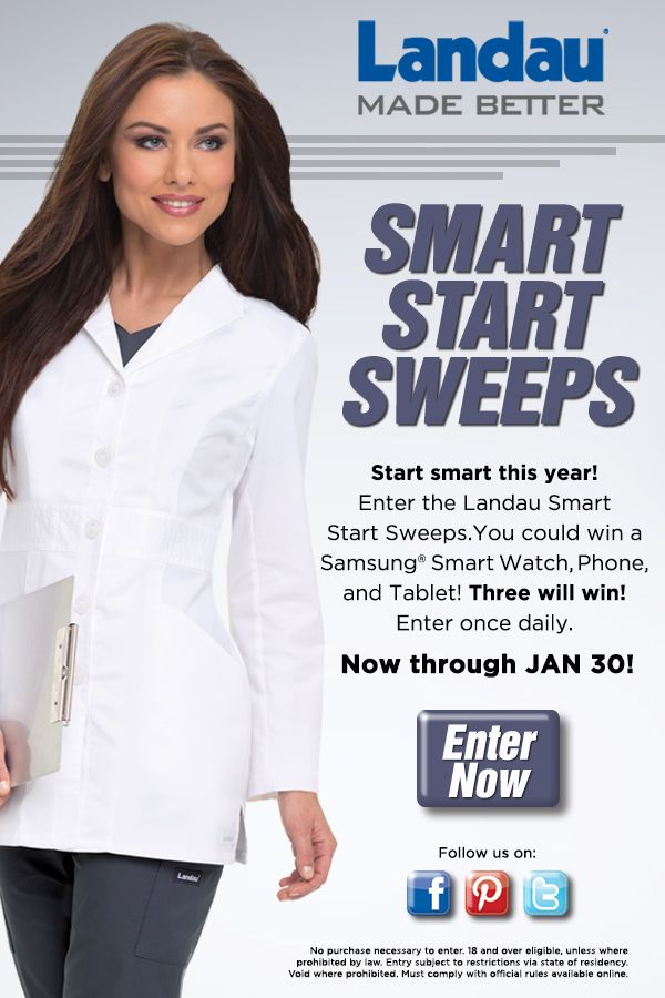 """Enter Landau's """"SMART START SWEEPS"""" and earn the chance to win a Samsung Smart Watch, Phone and Tablet! Three will win! Enter once daily now until January 30th! #landau #uniforms #sweeps #sweepstakes #medical #nursing #rn #lpn #lvn #dental #tech #smart #phone #tablet #winner #fashion"""
