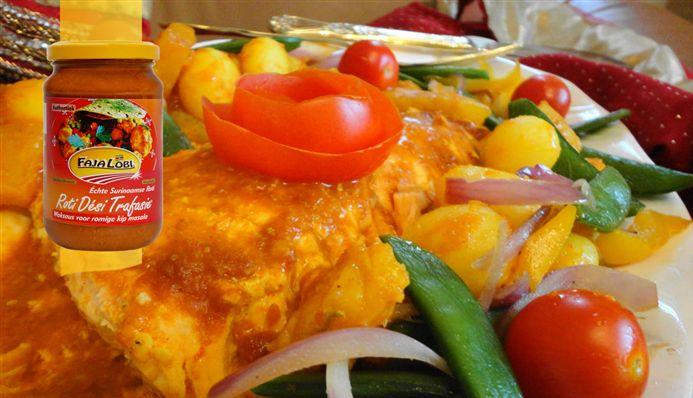 Surinaams eten – Caribbean Zalm de Luxe Ovenschotel (gezonde zalm ovenschotel met knapperige verse groenten)