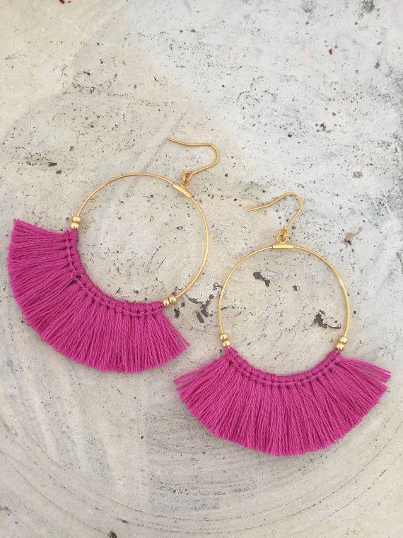 Hot pink tassel earrings fringe earrings boho jewelry boho earrings pink earrings woven earrings crochet earrings cheap earrings