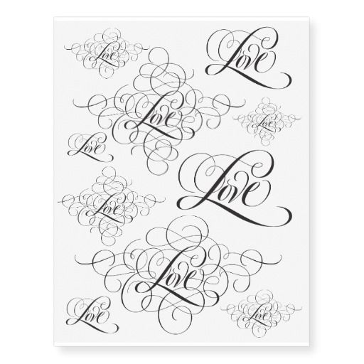 Ornate Fancy LOVE Calligraphy Lettering Script Temporary Tattoos | Zazzle.com – Crafts: Learning to Draw/Paint