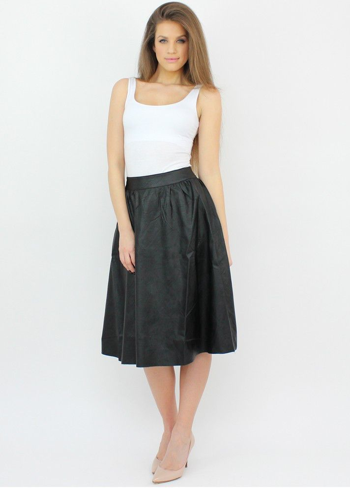 Faux Leather Midi Skirt that completes your casual and office chic wardrobe..:)  #moda #shopping #skirt #fauxleather #style #fashion