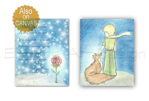 Little Prince Fox rose nursery wall art nursery prints