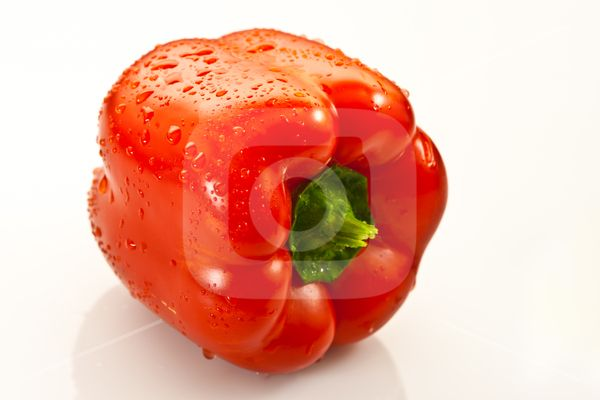 Red pepper with water drops