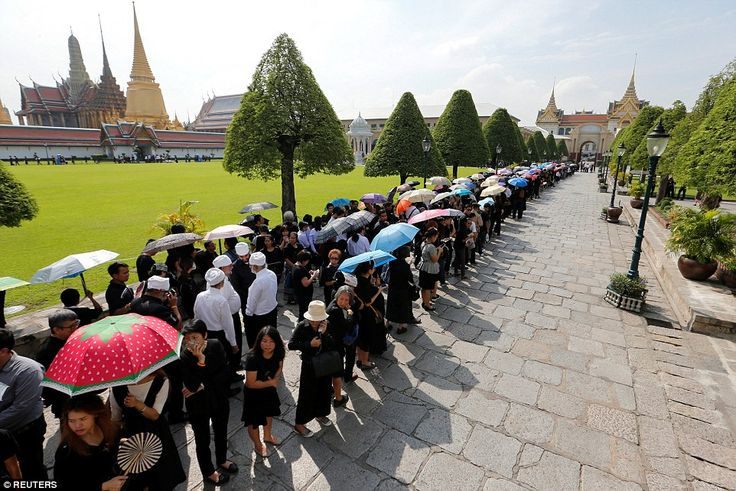 The Thai mourners waited patiently to pay respect to the king who has been described as th...