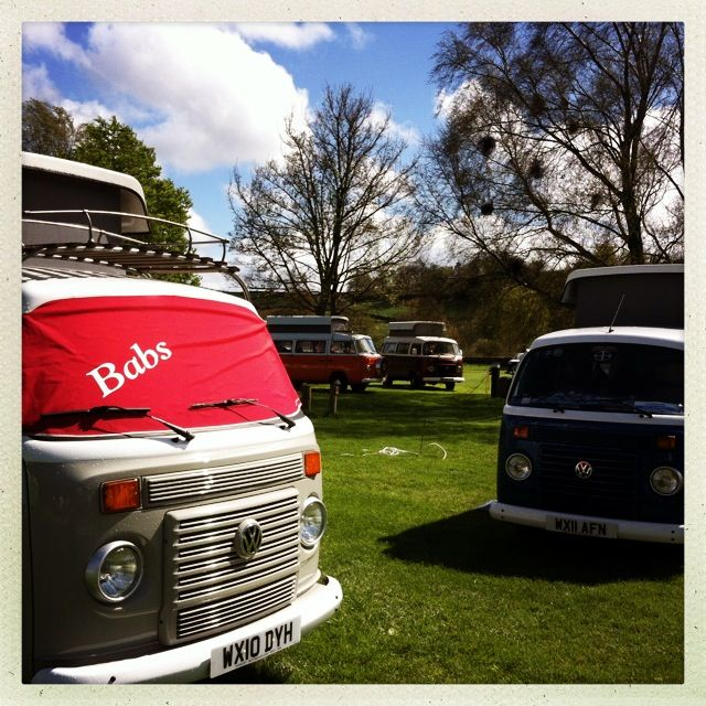 Babs with her mates at VW camper meet, Masons campsite, Appletreewick.