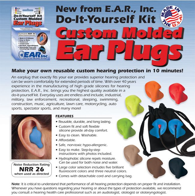 E.A.R. Inc. Do It Yourself Custom Ear Plug Kit (Makes Two Ear Plugs. W/Carry Bag and Detachable Cord) - Do-It-Yourself Custom Molded Ear Plugs