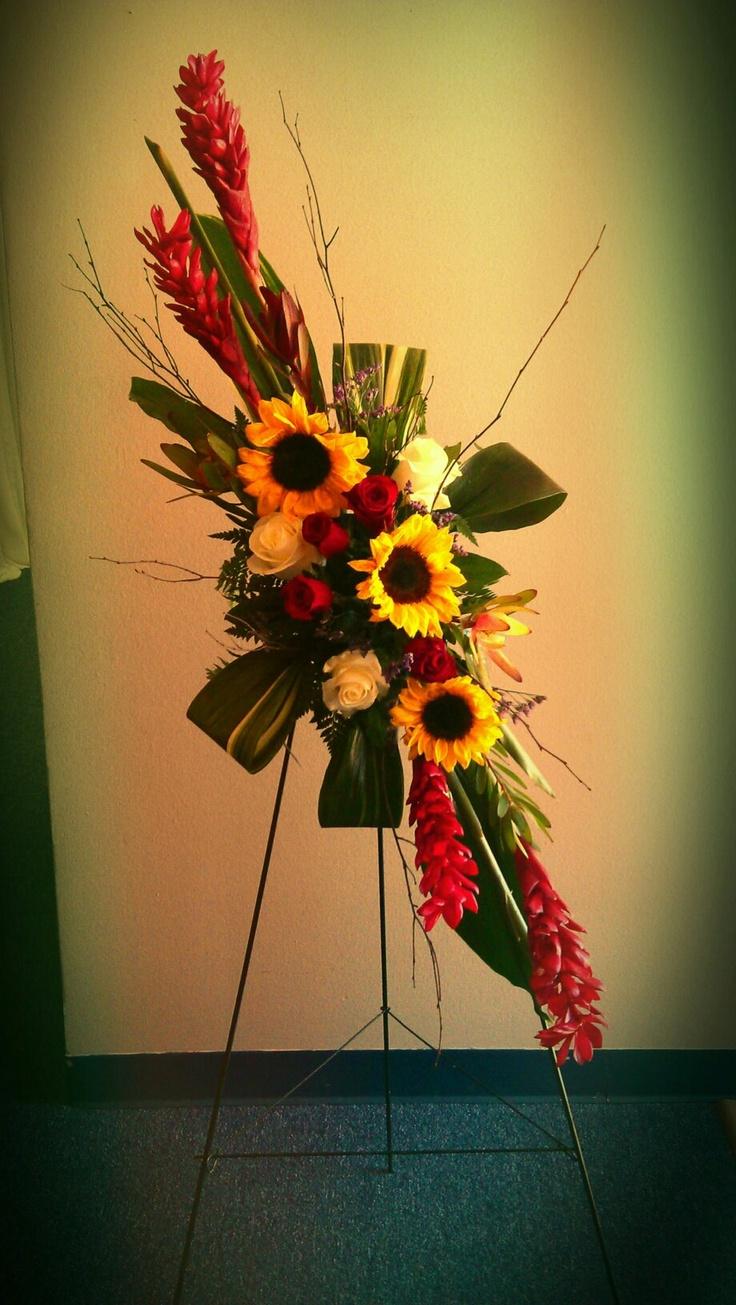 316 best funeral flowers images on pinterest floral arrangements sunflowers ginger easel design for an artist funeral izmirmasajfo Gallery