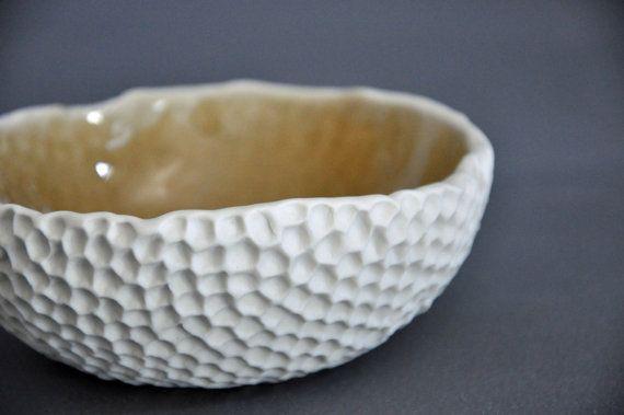 Amber Hive Textured Ceramic Bowl - Modern Kitchen Porcelain White Serving Bowl
