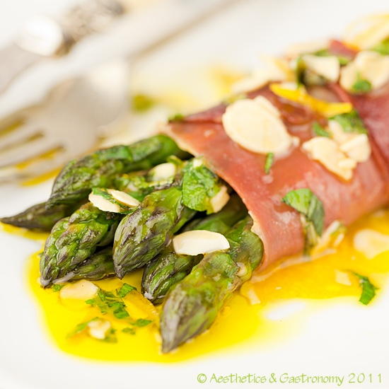 Asparagus Wrapped in Serrano Ham with Mint & Almond Dressing