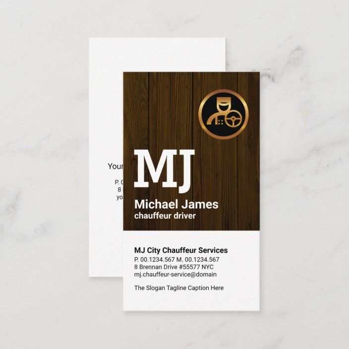 Simple Monogram Gold Driver Yellow Chauffeur Business Card Zazzle Com Chauffeur Monogram Cards