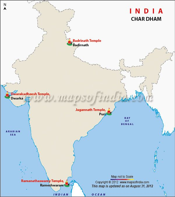 """Map of Char Dham in India. Char Dham (literally: 'the four abodes/seats') are the names of four pilgrimage places in India that are widely revered by most of the Hindus: Badrinath, Dwarka, Jagannath Puri, and Rameshwaram. But currently  Chota Char Dham or 'Little' Char Dham  is popularly known by people as """"Char Dham""""."""