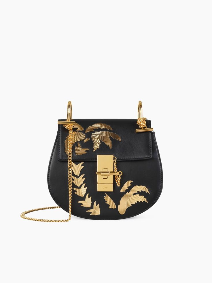 Mini Drew black saddle bag with golden palm tree embroidery