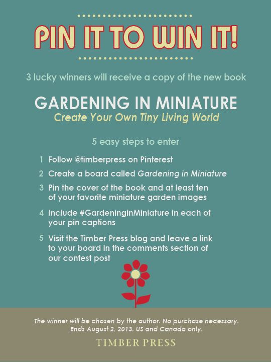We're giving away three copies of our new book Gardening in Miniature! Pin to win! Leave a link to your pin here: http://www.timberpress.com/blog/2013/07/gardening-in-miniature-giveaway-on-pinterest/ #pintowin #giveaway #GardeninginMiniature