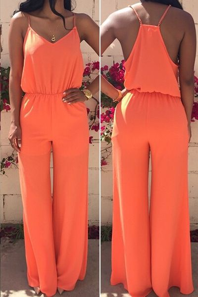 Spaghetti Strap Solid Color Sleeveless Jumpsuit