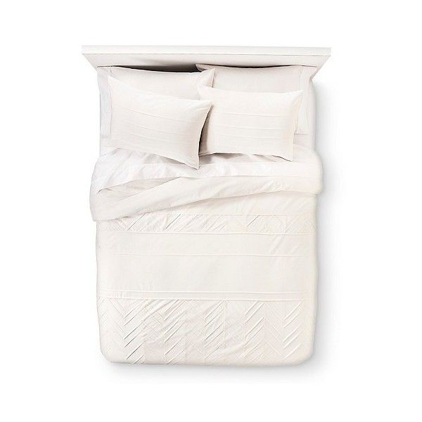 Pleated Duvet Set Cream ($48) ❤ liked on Polyvore featuring home, bed & bath, bedding, duvet covers, bedspreads, duvet cover set, ivory, king bedding sets, beige bedding sets and ivory bedding sets
