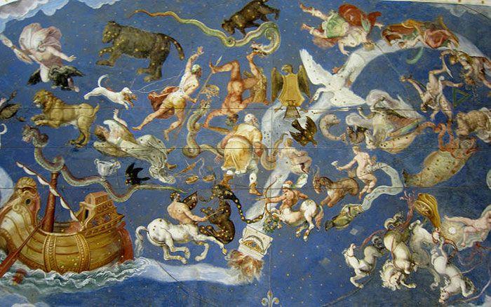 Sala del mappamondo fresco, Palazzo Farnese Caprarola, Lazio. The frescoed vault depicts the celestial spheres and the constellations of the zodiac