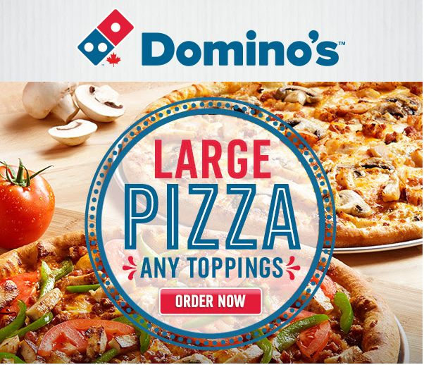 Dominos Pizza Canada Offers: Get Large Pizza with Any Toppings for $13.99 & Any Large 2 Topping Pizza & A 2L Co... http://www.lavahotdeals.com/ca/cheap/dominos-pizza-canada-offers-large-pizza-toppings-13/97600