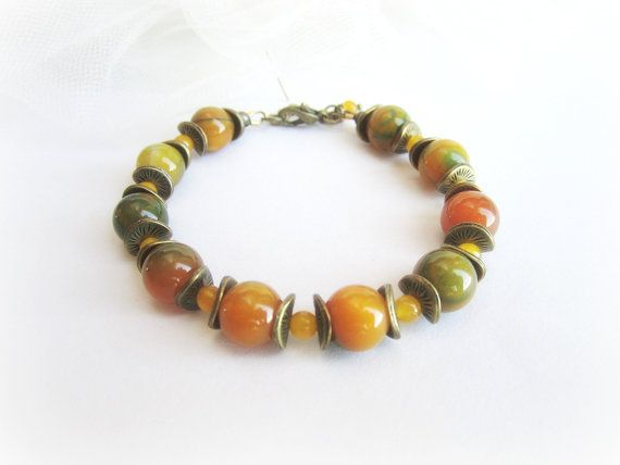 Gemstone beaded bracelet agate bracelet by MalinaCapricciosa