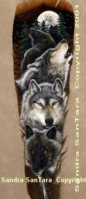 Wolf, Bear, and Kin Feather Paintings