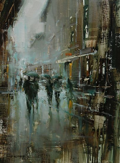 Hailing from Slovakia, Tibor Nagy uses thick layers of paint to create his landscape oil paintings. Nagy utilizes heavily loaded brushes and painting knives to apply his paint over a base of thinly applied darks, and creates further textures by deliberately scraping ares with his painting knife.