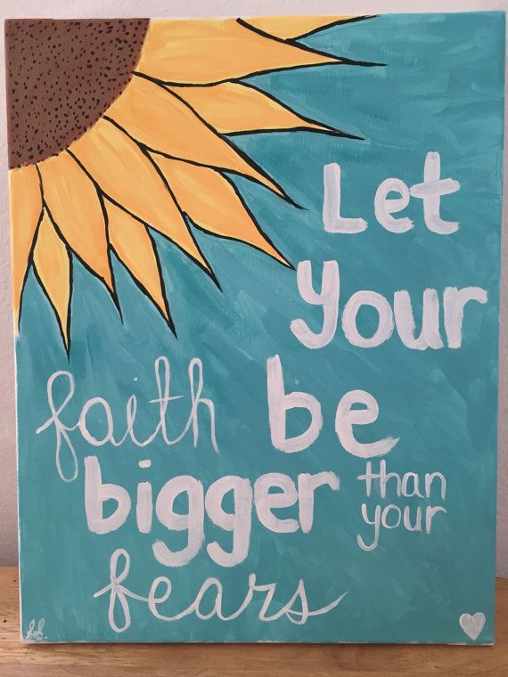 let your faith be bigger than your fears canvas painting on etsy too cute - Fun Pictures To Paint