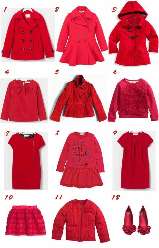 Selección de moda infantil en color rojo Pequeña Fashionista