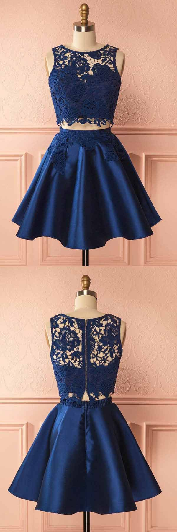 Two Piece Dark Blue Satin Homecoming Dress with Lace Appliques PG157