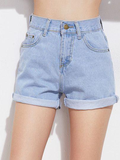 Rolled Cuff Denim Shorts -SheIn(Sheinside)