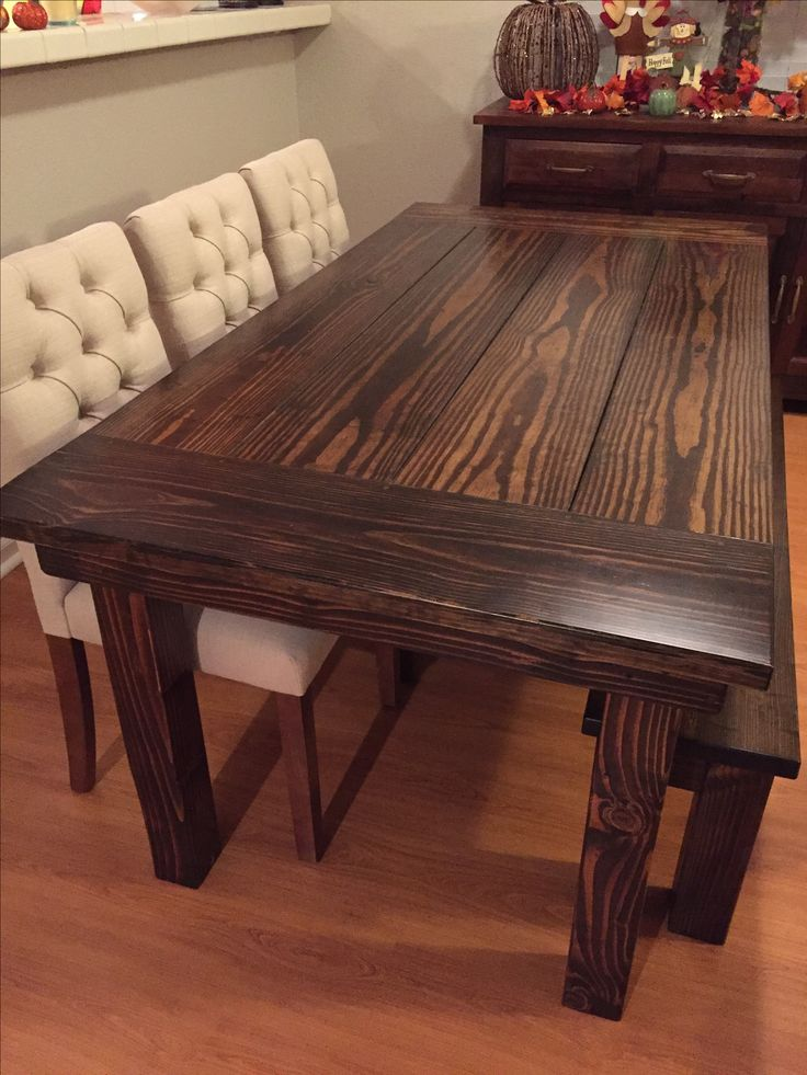 """6' L x 37"""" W Farmhouse Table with a traditional top and endcaps stained Dark Walnut with a satin finish. Pictured with a matching Farmhouse bench."""