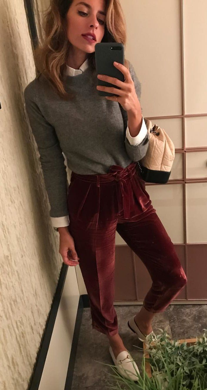 #fall #outfits women's grey sweatshirt, maroon capri pants, and white leather loafers outfit