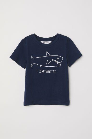 Camiseta con estampado - Azul oscuro Tiburón - NIÑOS  d853b5d05fcbb