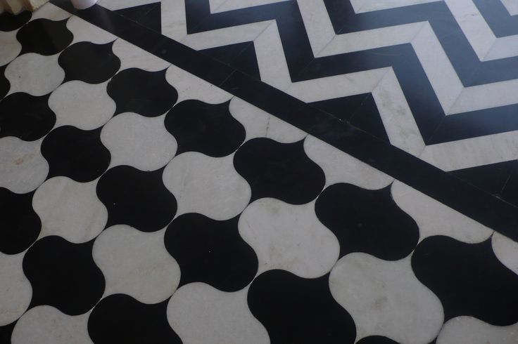 Black and white marble floor!