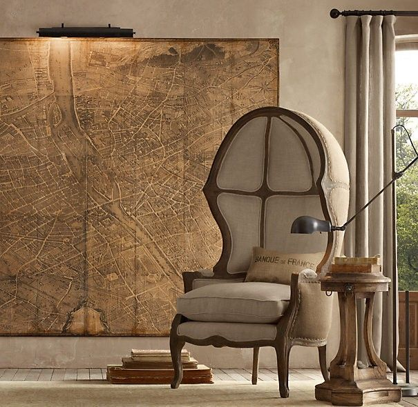 $40 Restoration Hardware Vintage Map Art
