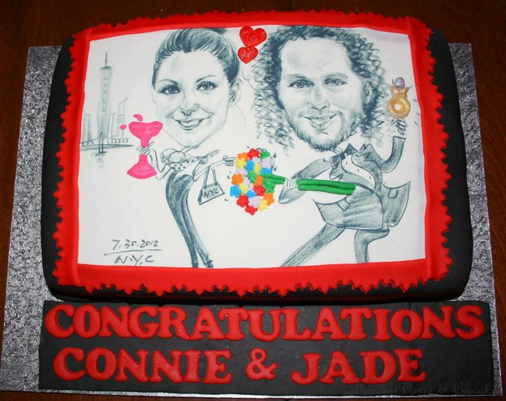 <3 Personalized Edible Image Engagement Cake <3 Made By Decadent Cakes & Cupcakes