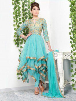 Light Blue Net Anarkali Suit With Embroidery Work
