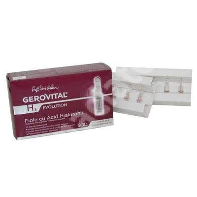 Fiole cu acid hialuronic Gerovital H3 Evolution, 10 fiole x 2 ml, Farmec [5943000079384] - medicamente recomandate pentru Anti-imbatranire