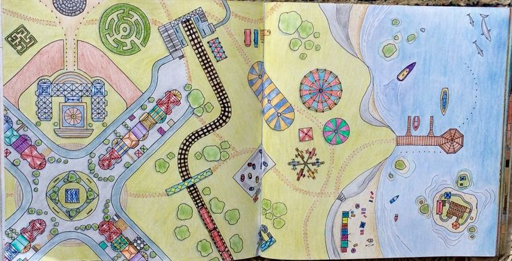Dream Cities. The countryside. Coloured by Prue.