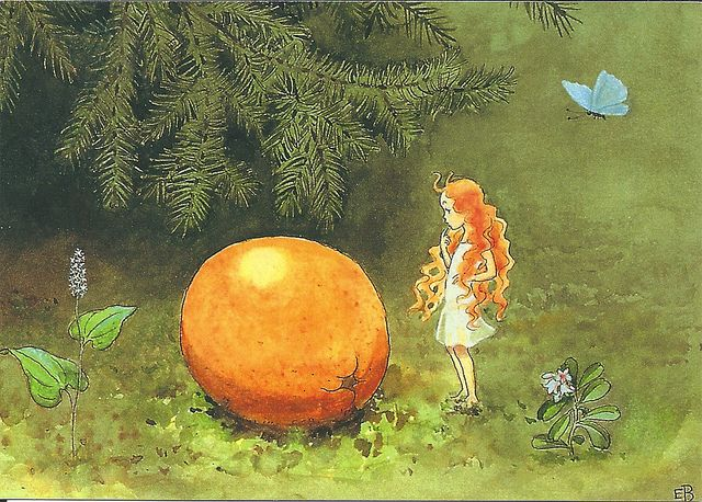 ~orange and fairy illustration by Elsa Beskow (from her gorgeous story The Sun…
