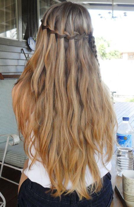 the waterfall braidLong Hair Style, Hairstyles, Wavy Hair, Waterfal Braids, Colors, Longhair, Waterfall Braids, Hair Color, Braids Hair