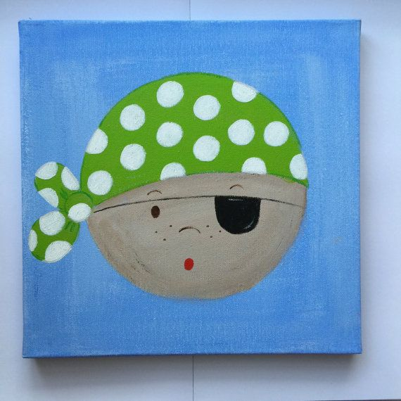 Pirate canvas painting available in lime green by SOLOKIDSDECOR