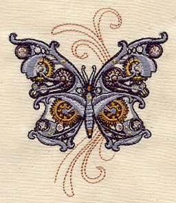 """Embroidery Designs at Urban Threads - Steam Motifs - Butterfly (#UT2357) 3.22""""w x 3.85""""h 15 May 2010"""