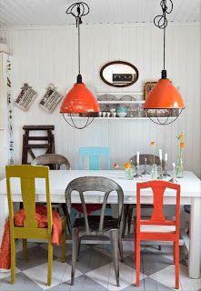Arte e Decoração: Decoração mesa de jantar com cadeiras diferentes
