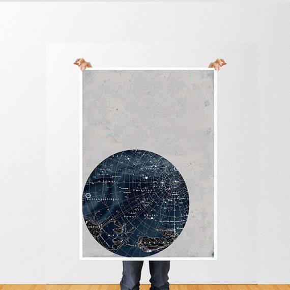Large Print Poster Vintage Style Astronomy,Scorpius Constellation, Stars Map, Zodiac, Space
