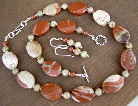 Jasper Necklace Earrings Bracelet