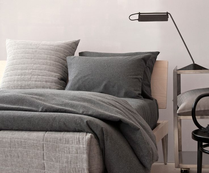 AREA Inc. EVERETT coal. Yarn-dyed heather cotton flannel duvet cover, sheets, and cases. Warm and soft.